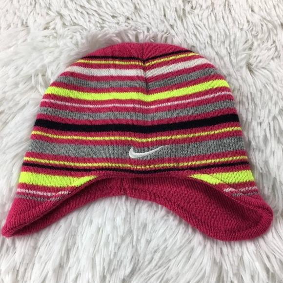 6d24f9309d1 Nike Toddlers Girls Striped Knit Warm Beanie Hat. M 5b9c65c99539f7c1eebcd6be